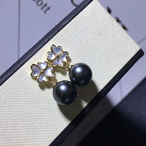 FidgetGear Elegant Pair of 10-11 mm Tahitian Round Black Pearl Earring 18k Gold Show One Size