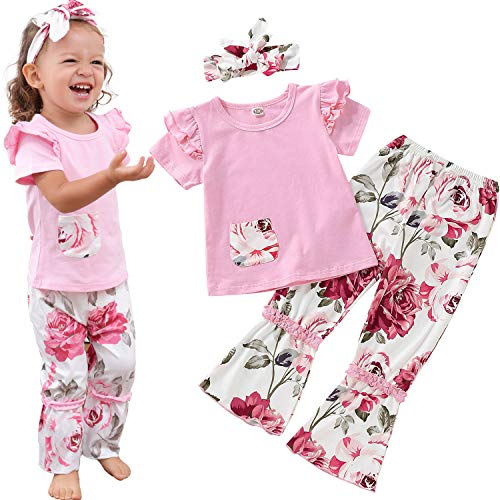 ZOEREA Baby Toddler Girls Floral Outfit 3Pcs Vest Pant with Headband Denim Shorts Clothing Set (Floral Pink, Label 90/12-24M) ()