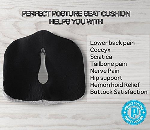 Car Seat Pillow >> Perfect Posture - Memory Foam Seat Cushion: NeverFlat ...