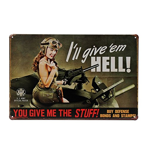 Bluelover Mujer Soldado Tin Cartel Vintage Metal Placa ...