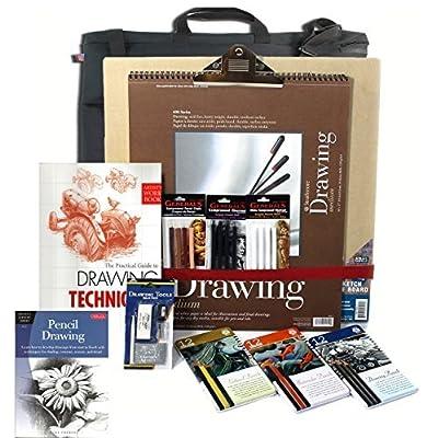 Artist Drawing Board Set, w/ Board, 3 Pencil Set(s) & 3 Pastel Set(s), 128pg Instruction Book & Made in USA Portfolio
