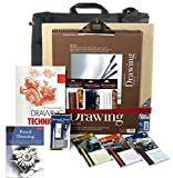 Artist Drawing Board Set, w/ Board, 3 Pencil Set(s) & 3 Pastel Set(s), 128pg Instruction Book & Made in USA Portfolio