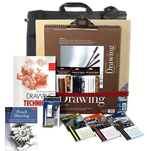 Artist Drawing Board Set, w/ Board, 3 Pencil Set(s) & 3 Pastel Set(s), 128pg Instruction Book & Made in USA Portfolio by Online Art Supplies