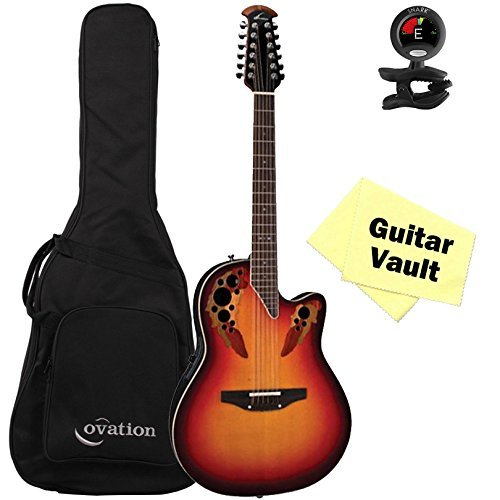 Ovation 2758AX-NEB New England Burst Standard Elite 12 String guitarVault Package with Gig Bag, Tuner and Polishing Cloth