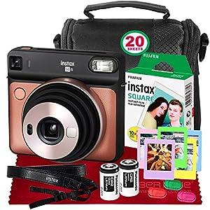Fujifilm instax Square SQ6 Instant Film Camera (Blush Gold) + 20 Sheets Instant Square Film + Xpix Camera Strap + Fibertique Cloth (USA Warrantty)
