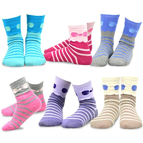 ripes Fashion Cotton Short Crew 6 Pair Pack (9-10Y, Stripes and Bow) (Short Crew Kids Socks)