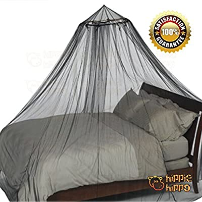 HIPPIE HIPPO Mosquito Net Conical Round Hoop Bed Canopy Netting Black Fit Crib Twin Full Queen King All Size Bed Party Camping