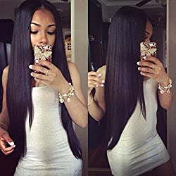 Eayon Hair 6A Virgin Hair Glueless Human Hair Full Lace Wigs Brazilian Silky Straight Hair Lace Wig with Baby Hair For African Americans 130% Density Natural Color 14 inch