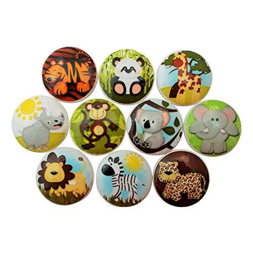 - Set of 10 Safari Animal Wood Cabinet Knobs