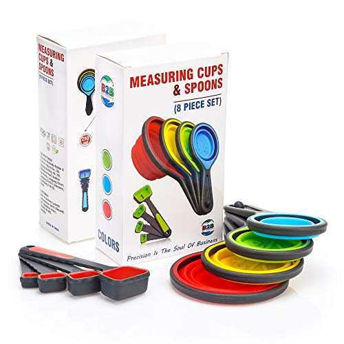 Collapsible Silicone Measuring Cups & Measuring Spoons - set 8psc Silicone Mesuring Cup and Collapsible Spoon - Great for Camping and Pet Food(red)