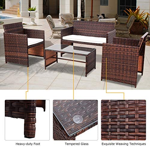 patio, lawn, garden, patio furniture, accessories, patio furniture sets,  conversation sets 5 picture Goplus Rattan Sofa Furniture Set Outdoor Garden Patio deals