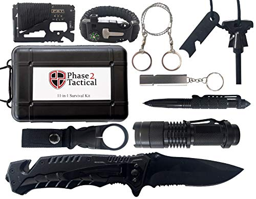 (Phase 2 Tactical 11-in-1 Survival Kit - Outdoor Emergency Gear & Gadgets for Any Situation - Great for Camping, Hiking, Hunting, Fishing, Emergencies & More)