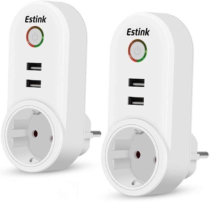 Enchufe Inteligente, WiFi Inalámbrico 2 Pack con 4 USB Smart Plug EU Funciona con APP para Android e iOS (Control Remoto, Temporizador, Programador, Amazon Alexa, Google Home): Amazon.es: Electrónica