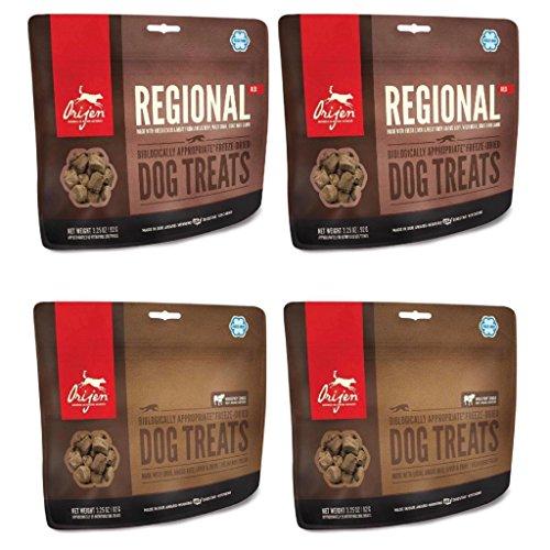 Orijen Ultimate Meaty Dog Treat Variety Bundle featuring 2 Orijen Regional Red Dog Treats 3.25 oz bgs. & 2 Orijen Angus Beef Dog Treats 3.25 oz bgs. 4 bags total