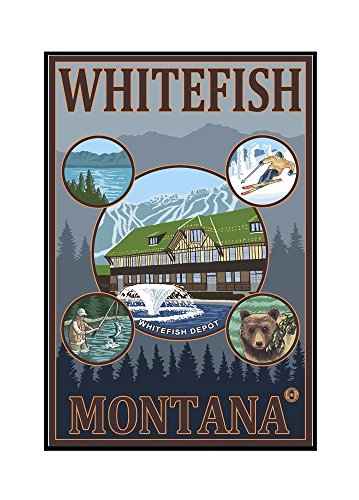 Whitefish, Montana Framed Gallery Wrapped Stretched Canvas