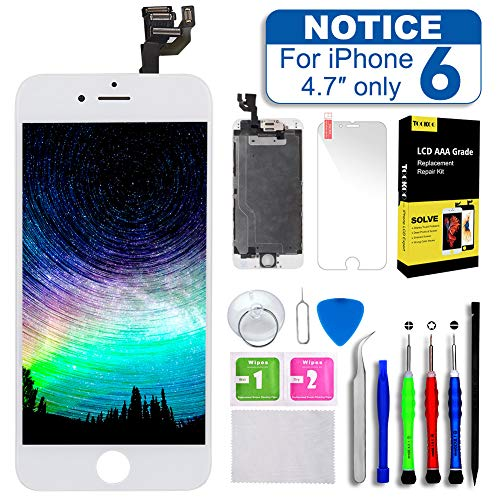 Screen Replacement for iPhone 6 4.7inch White,Tokmali LCD Display Touch Screen Digitizer Frame Full Assembly,Complete 9 Pcs Repair Tools Kit Screen Protector (IP6-WHITE)
