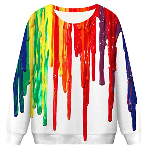 Gorgeous Halloween Costumes (Goddesslili Womens Costumes Halloween, Gorgeous 3D Rainbow Blood Print Cozy Pullover Sweatshirts Hoodies Blouses for Women Girls Student Daily Party Wear,)