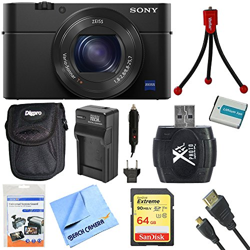 Sony DSC-RX100M4 DSC-RX100M4/B DSC-RX100MIV RX100M4 RX100MIV Cyber-shot l20.1 MP Camera Bundle includes Camera, 64GB SDXC Memory Card, Carrying Case, Mini Tripod, Battery, Charger, Card Reader & More