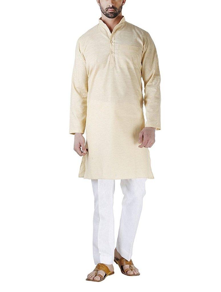 Royal Kurta Men's Light Fine Cotton Linen Airy Kurta Pyjama Set 44 Lemon