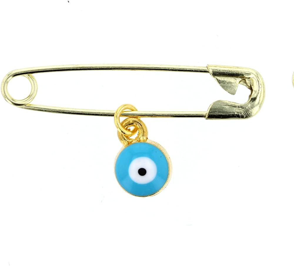 Evil Eye Glass Evil Eye Charm With Brass Safety Pin To Hook