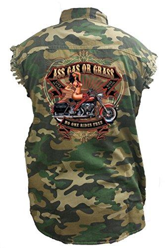 Men's Camo Sleeveless Denim Shirt Ass, Gas Or Grass. No One Rides Free Denim Vest: - Ryan Shirt Gosling With No