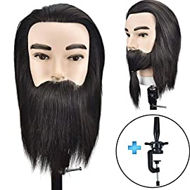 ErSiMan Professional Male Cosmetology Mannequin Head with 100% Human Hair 8″ Manikin Head for Brading Hair Hairdressing Training Head with Beard Doll Head with Clamp
