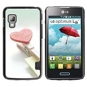 Be Good Phone Accessory // Dura Cáscara cubierta Protectora Caso Carcasa Funda de Protección para LG Optimus L5 II Dual E455 E460 // Heart and clips