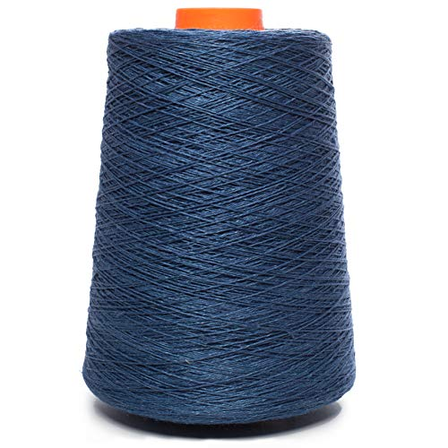 (Linen Yarn Cone - 100% Flax Linen - 1 LBS - Dark Blue Color - 3 PLY - Sewing Weaving Crochet Embroidery - 3.000 Yard)