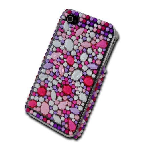 deinPhone - iPhone 4 4S Case Schutzhülle Schutz Handy Hülle Bumper Tasche Etui Hard Case mit Perlen besetzt in Pink Weiß