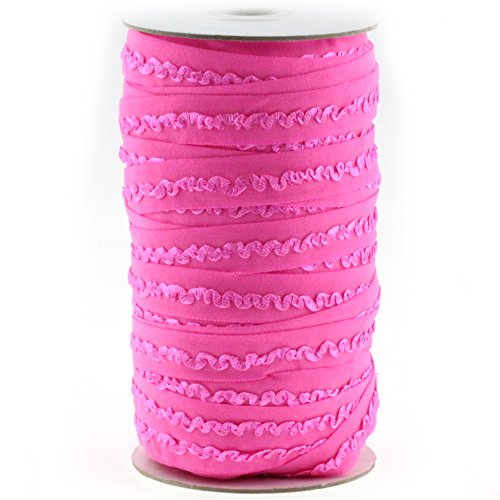 """Midi Ribbon Stretch Woven Scalloped Middle Ruffle Elastic Band 5/8"""" X 50 Yards/Roll-Can be fold Over-Color Hot Pink-Handmade Waistbands, Sleeves, Legbands, Scrunching, Underwear Bra Sewing Supplies"""