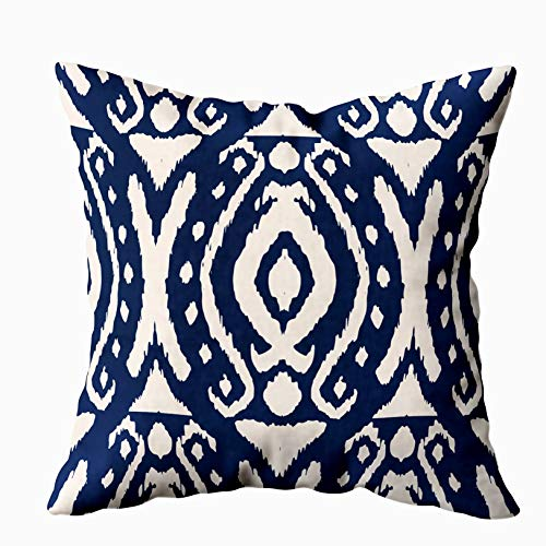EMMTEEY Ikat Bohemian Pillow Covers, 18x18 Pillow Covers Home Throw Pillow Covers Bohemian Pillows Pattern Tie Dye Shibori Print with Stripes and Chevron Ink Textured Square Double Sided Printing (Batik Outdoor Pillows)