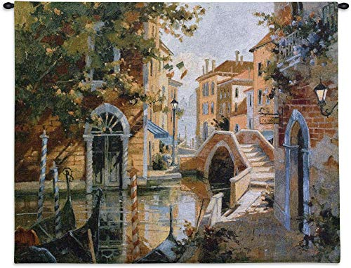 (Venice Canal by Robert Pejman | Woven Tapestry Wall Art Hanging | Venetian Canals and Gondola | 100% Cotton USA Size 53x42)