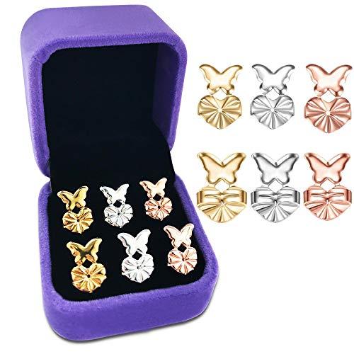 Earring Backs Lifters,925 Sterling Silver Secure Backings, 3 Pairs of Hypoallergenic Adjustable Earring Backs,Easy to Use Back Earrings for Women, Ear Lobe Support + Jewelry Case(Butterfly)