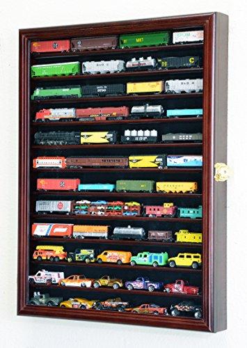 sfDisplay.com,LLC. 12 Shelves N Scale Train Model Trains Display Case Cabinet Wall Rack w/ 98% UV Lockable (Cherry - Elegant Cherry Wood Finish Series