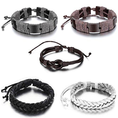 Aroncent Leather Bracelet Bangle Adjustable