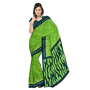 Shilp-Kala Polyester Printed Green Colored Saree SK12963