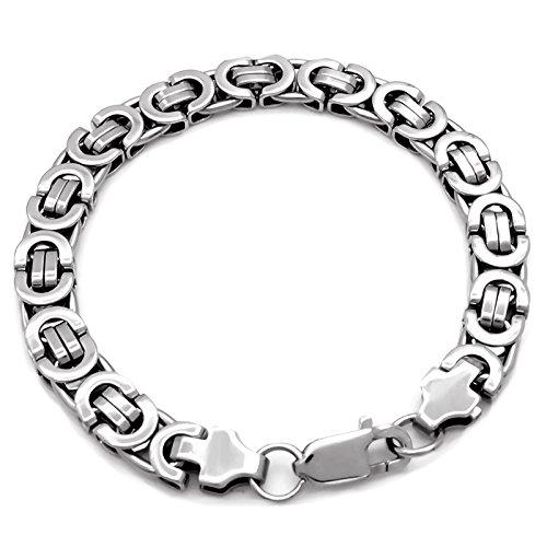 Elfasio 9MM Men's Byzantine Link Stainless Steel Chain Clasp Bracelet, Silver 7.5