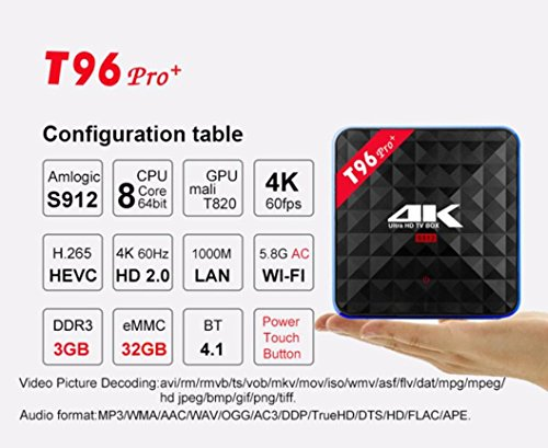 2018 Newest T96 PRO Android 6.0 TV Box 3G+32GB,Aritone Octa-Core 3D/4k/WiFi/HD Smart Media Player (Black) by T96 (Image #3)