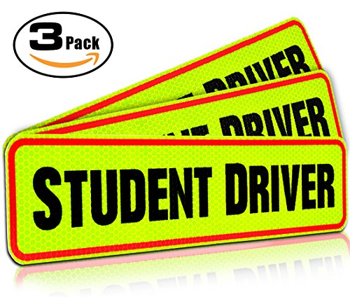 Student Driver Magnet Car Signs For The Novice Or Beginner  Better Than A Decal Or Bumper Sticker  Reusable  Reflective Magnetic Large Bold Visible Text  12  Student Driver Reflective