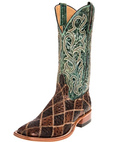 Western turquoise Toe Square Horse Hp1075 Boot Men's Patchwork Move Power Brown wvv67F