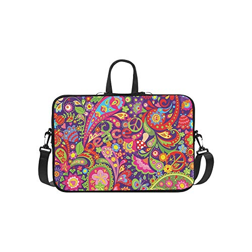 - Tribal Ethnic Flower Paisley Peace Sign Pattern Briefcase Laptop Bag Messenger Shoulder Work Bag Crossbody Handbag for Business Travelling