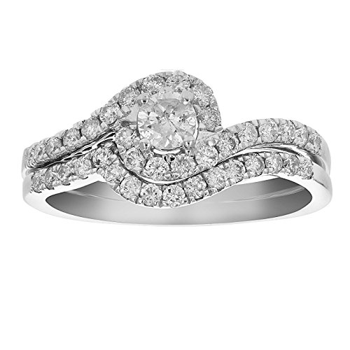 3/4 CT Diamond Channel Prong Wedding Engagement Ring Set 14K Gold in Size 7 ()
