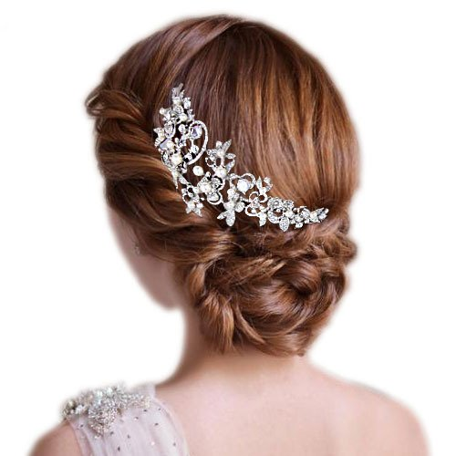 EVER FAITH Silver Tone Zircon Crystal White Simulated Pearl 6 Inch Flower Leaf Hair Side Comb Clear
