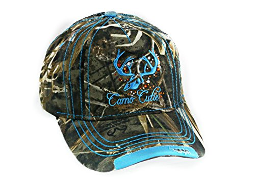 Ladies Camo Cap - Womens Realtree Camo Cap with Blue Trim and Camo Cutie logo Plus Free Decal