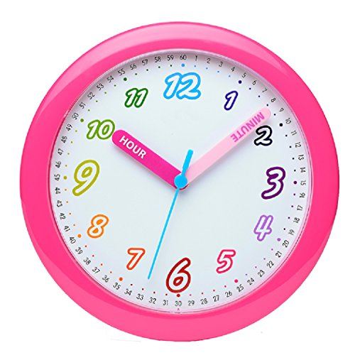 [Maytime Colorful Arabic Numerals Lovely Dial Room Home Children's Round Wall Clock 10 Inch(Rose)] (10