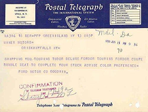 1936 Ford Telegram To Dealer
