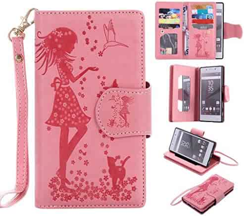 UNEXTATI Sony Xperia Z5 Case, Flip Stand Leather Case Wallet Cover with Card Multi-Slots for Sony Xperia Z5 (P3 Pink)