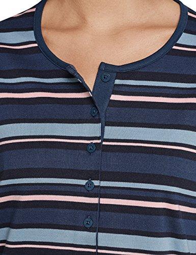 Schiesser Anzug Blaugrau Blu 808 Donna Pigiama Lang aanPOSr