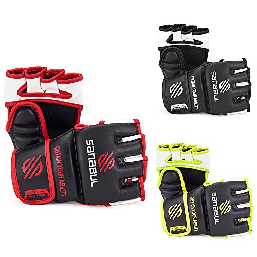 Sanabul NEW ITEM Essential MMA Grappling Gloves (Black/Red, (Grappling Training Gloves)