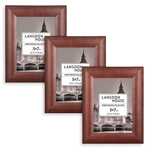Langdons 5x7 Picture Frames, Solid Wood 5 x 7 Picture Frame, 5 by 7 Photo Frames with Wall Mount Hooks and Table Top Easel, Crestwood Collection (Cherry Stained, 3 Pack) ()